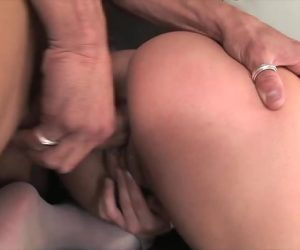 Blonde In White Stockings Banged Doggy With Concord